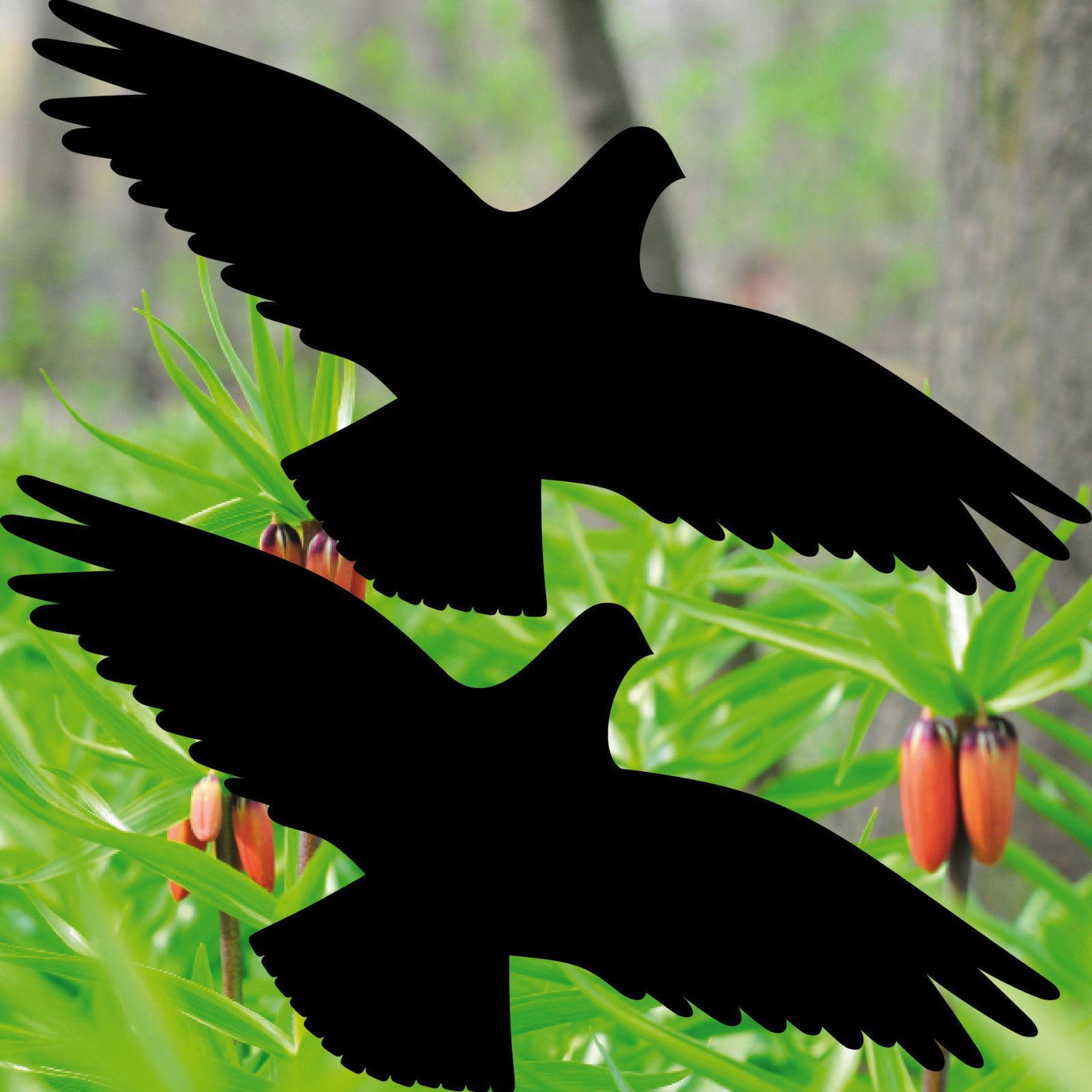 2 Aufkleber 35cm schwarz Vogel Habicht Warnvogel Fenster