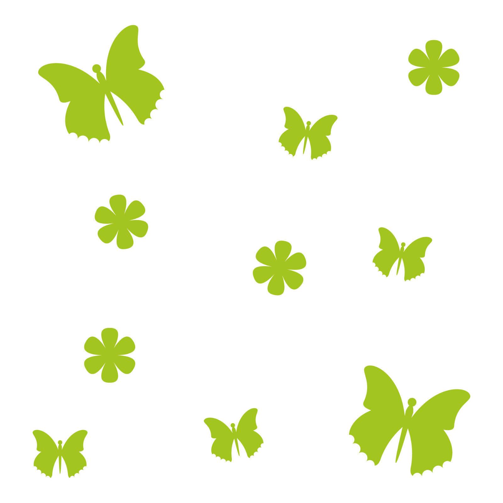 10 Aufkleber Tattoo Grun Schmetterlinge Blumen Auto Mobel Fenster