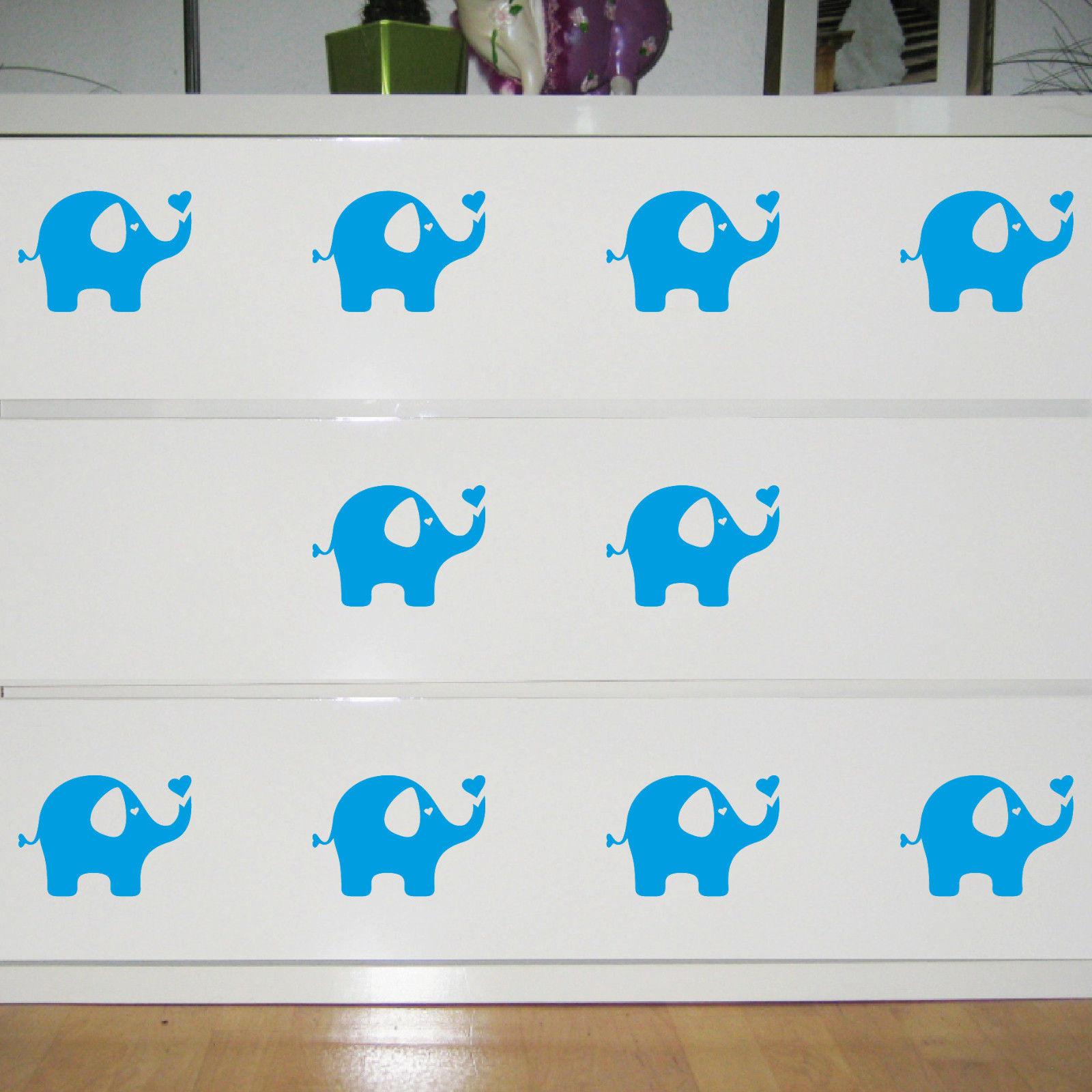 10 aufkleber elefant hellblau dumbo 10cm tattoo folie kinder zimmer m bel deko kaufen bei green it. Black Bedroom Furniture Sets. Home Design Ideas