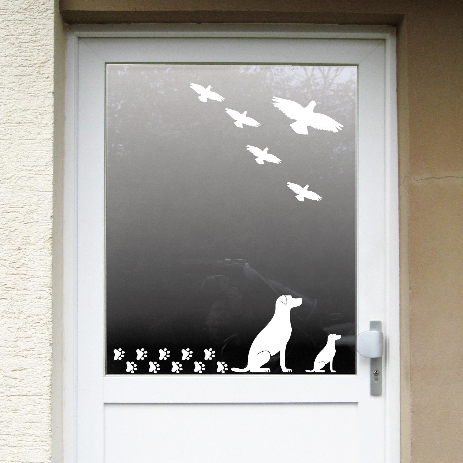 Set weiß Hunde Welpen Warnvögel Aufkleber Tattoo Fenster Vogel