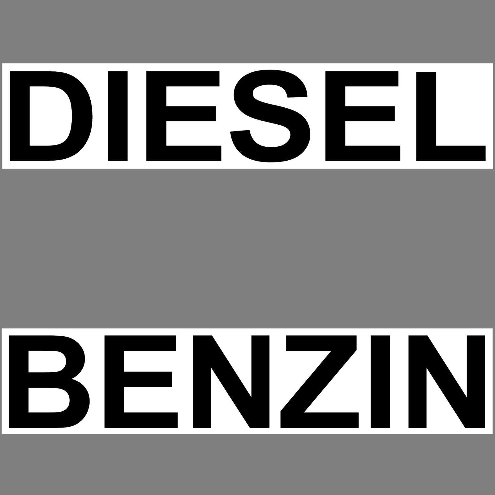 Set Aufkleber 20cm Benzin Diesel Sticker Hinweis Auto Tank