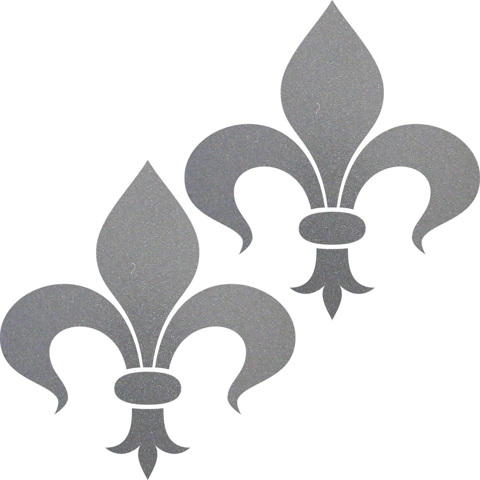 2 aufkleber tattoo florenz lilie 8cm silber fleur de lis deko folie klebefolie kaufen bei green it. Black Bedroom Furniture Sets. Home Design Ideas