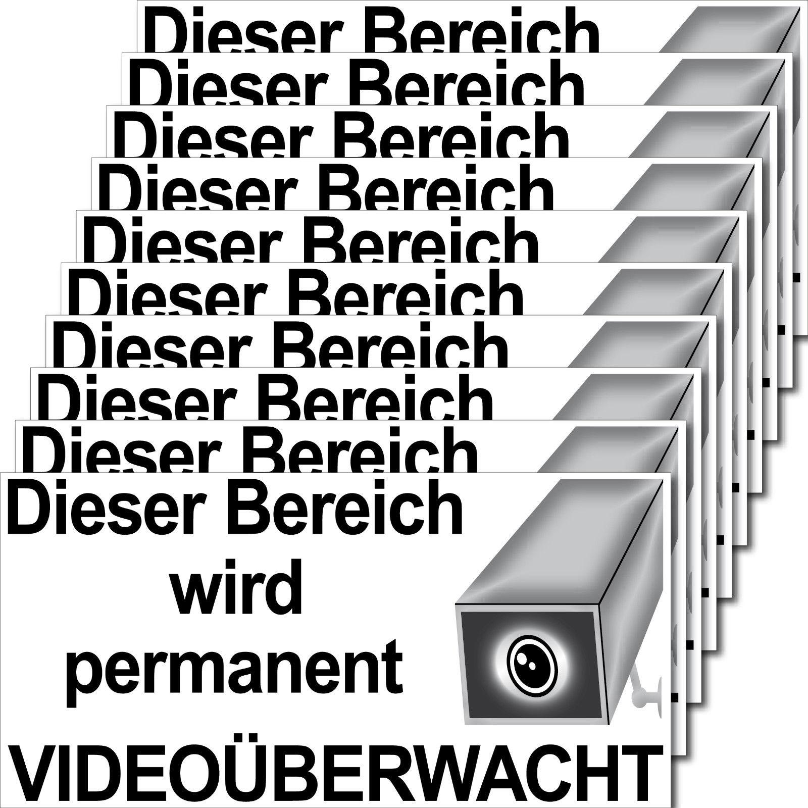 10 Aufkleber 20cm Dieser Bereich Wird Permanent Videouberwacht Cctv