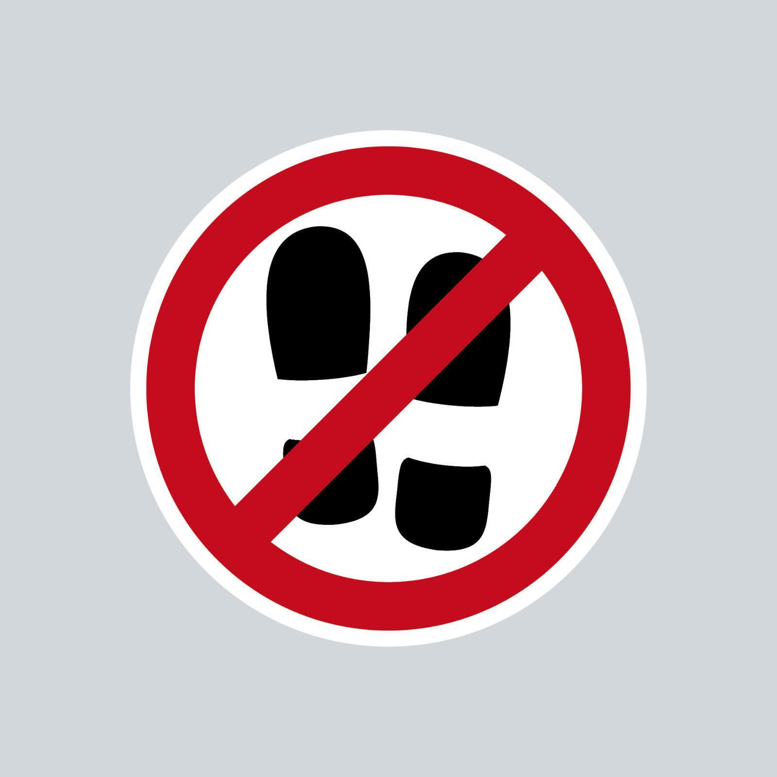 aufkleber 4cm rund sticker betreten verboten nicht mit schuhen schuhverbot kaufen bei green it. Black Bedroom Furniture Sets. Home Design Ideas