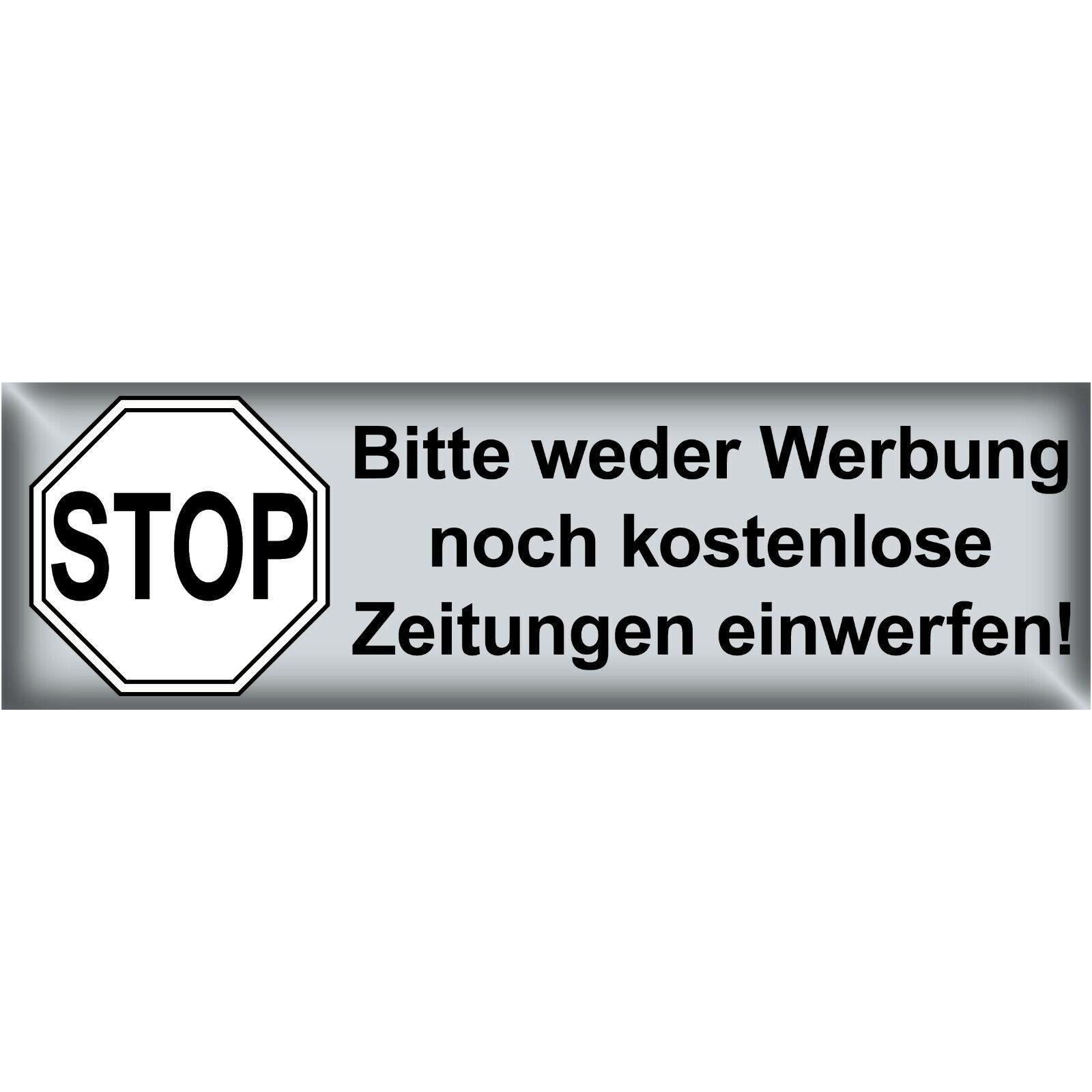 Aufkleber Bitte Keine Werbung Reklame Zeitungen Einwerfen Briefkasten Sticker