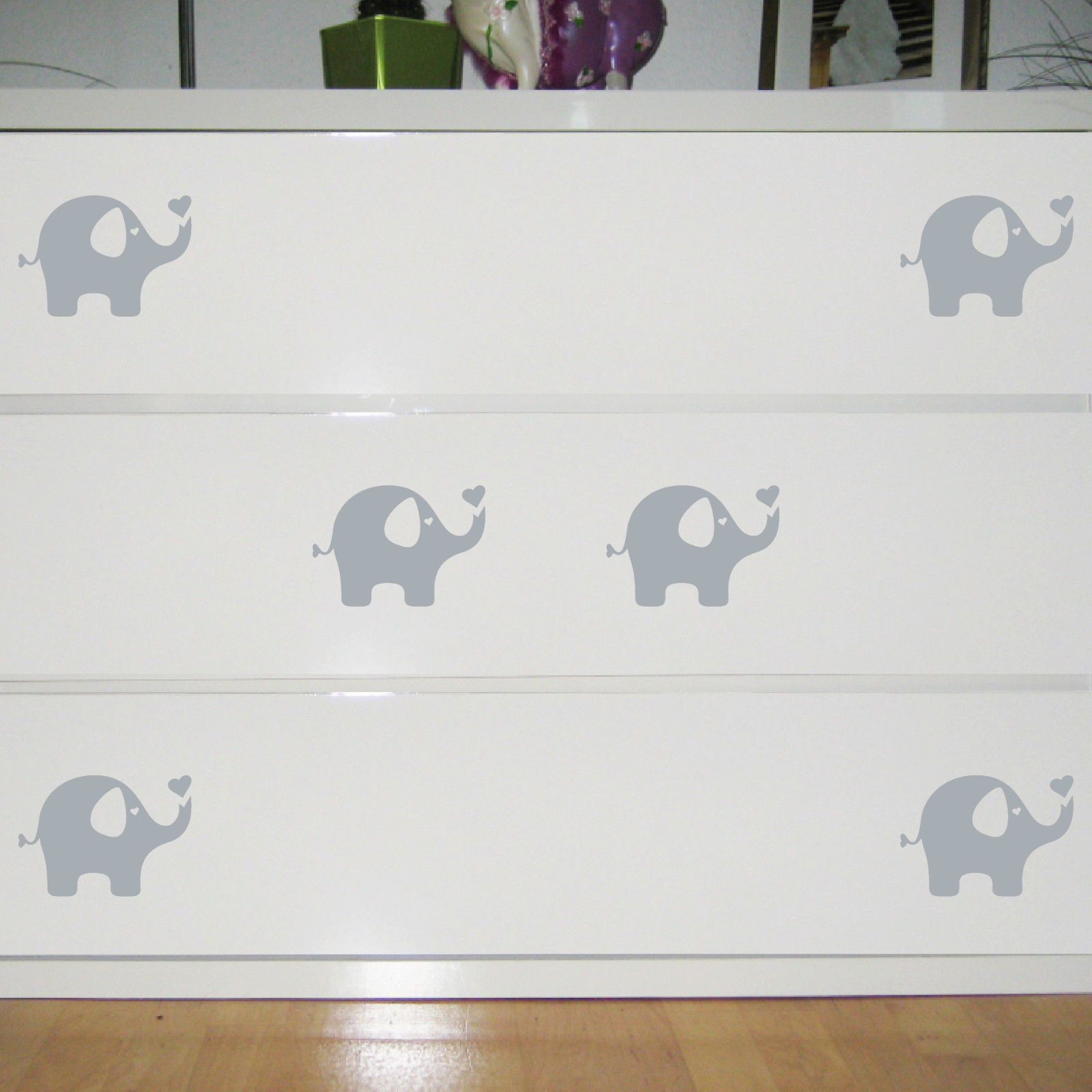6 Aufkleber Elefant grau Dumbo 10cm Tattoo Deko Folie Kinderzimmer ...