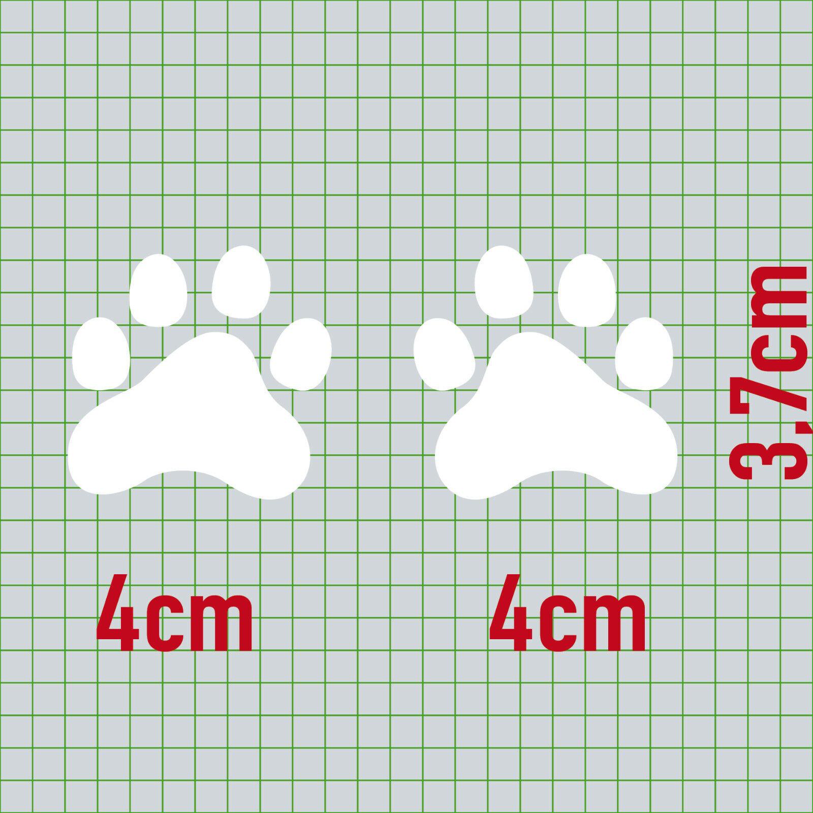 10 Pfötchen Weiß Pfote 4cm Hund Katze Tatzen Spur Napf Auto Aufkleber Deko Folie