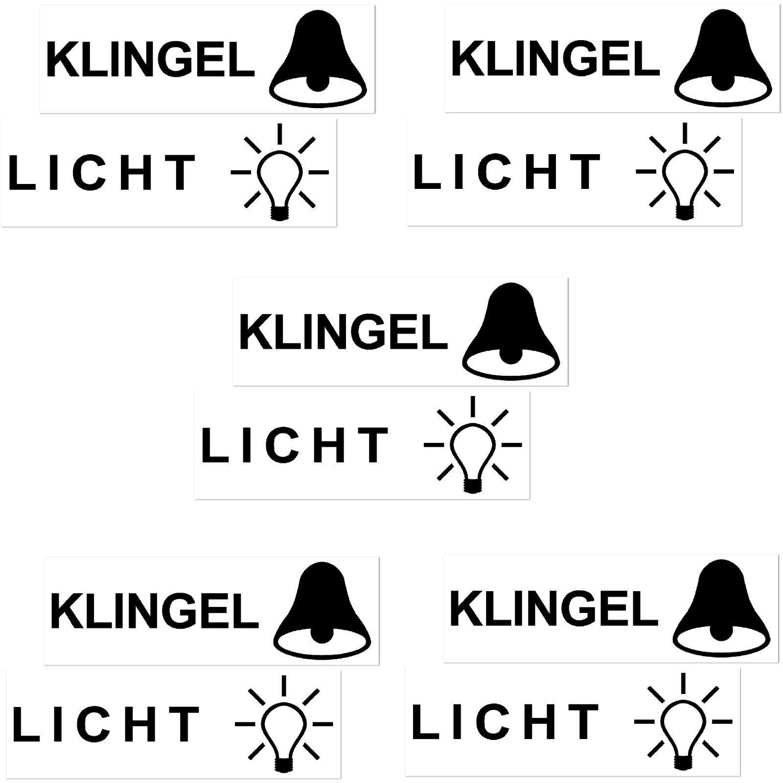 10 Aufkleber 6 5cm Klingel Licht Symbole Briefkasten Tür Schalter Taster Haustür