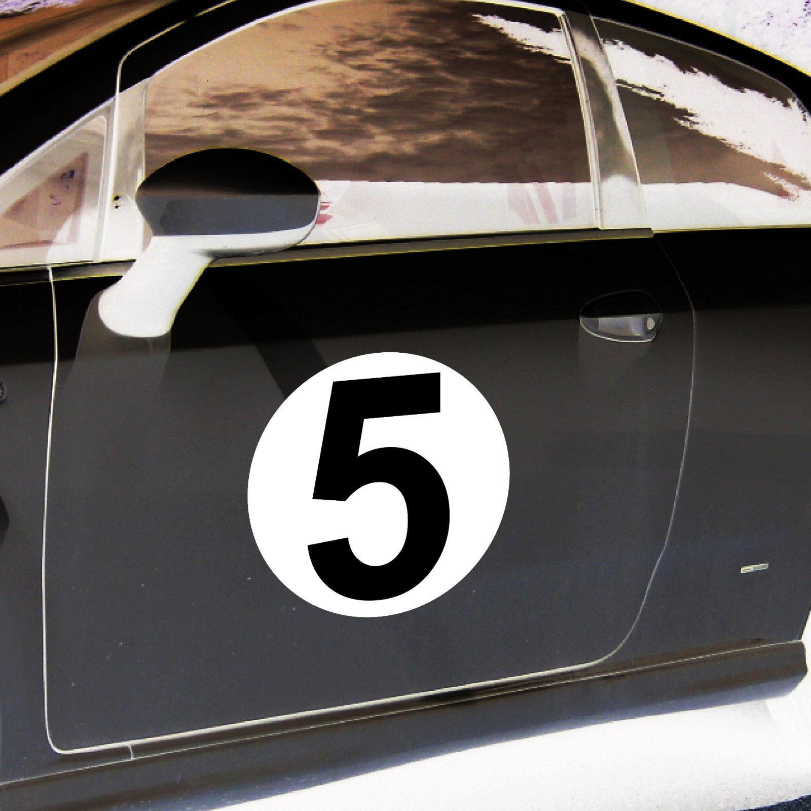 2 aufkleber 20cm sticker start nummer 5 ziffer zahl racing. Black Bedroom Furniture Sets. Home Design Ideas