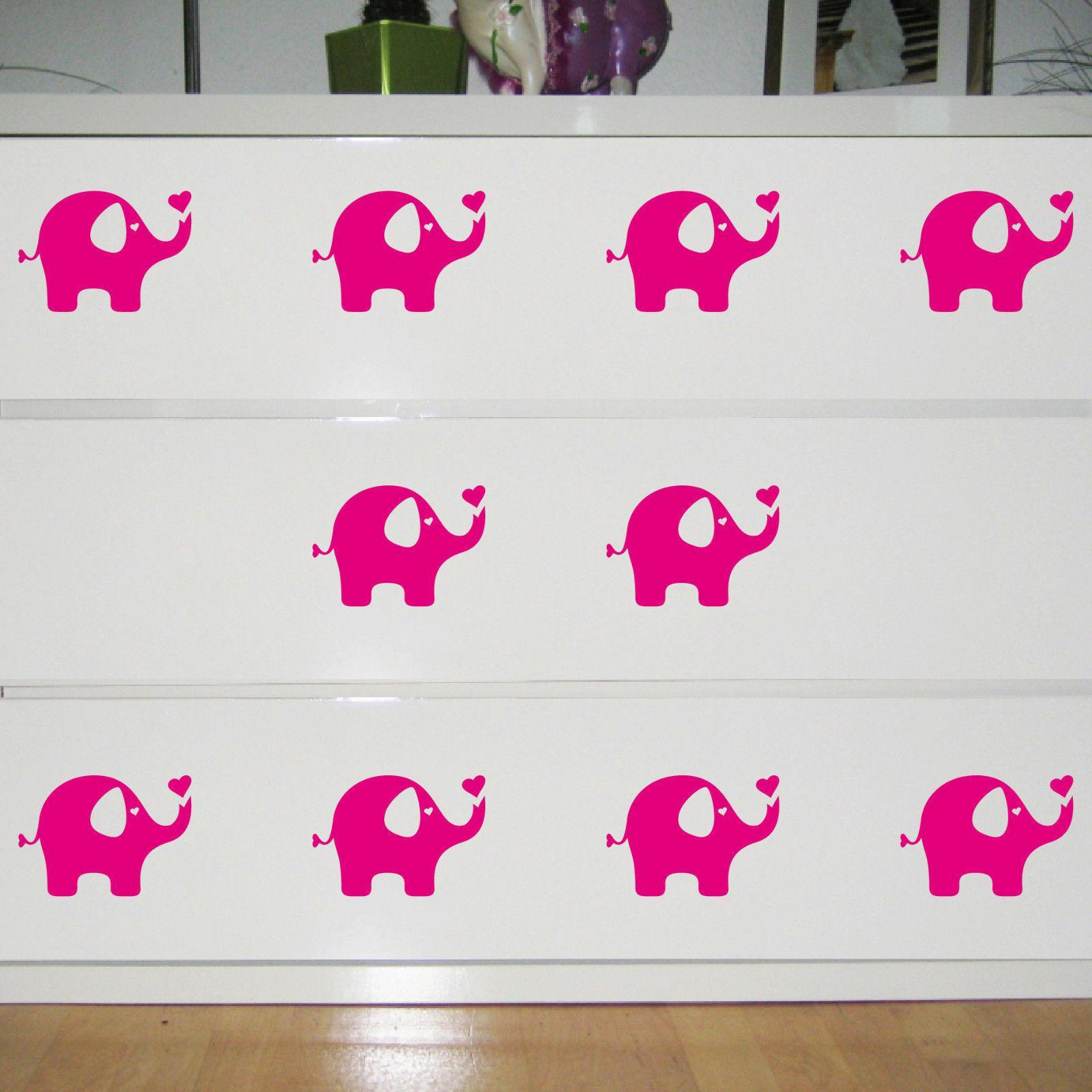 10 Aufkleber Elefant Pink 10cm Tattoo Deko Folie Kinderzimmer Möbel Fenster