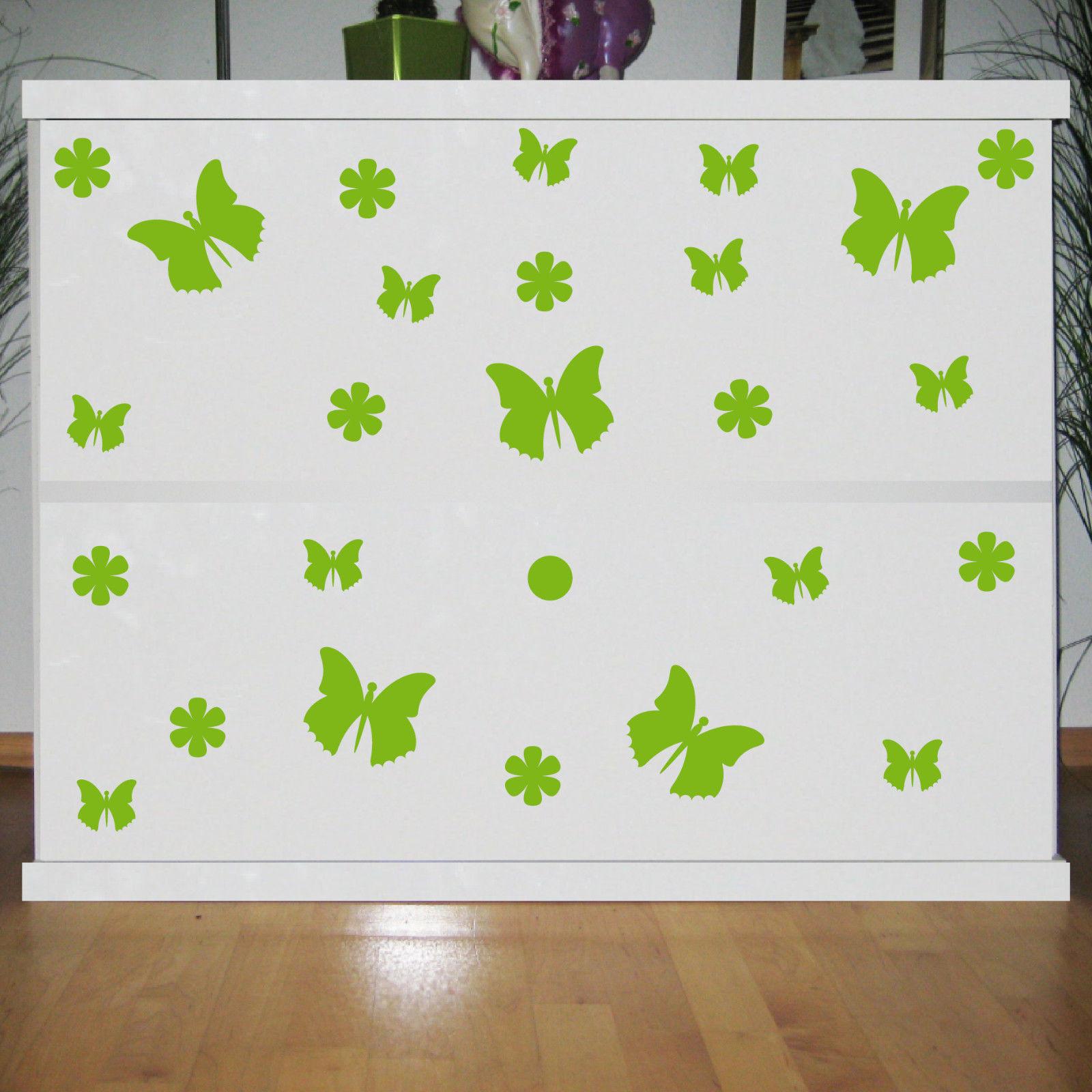 25 Aufkleber grün Schmetterlinge & Blumen Tattoo Schrank Komode Tür ...