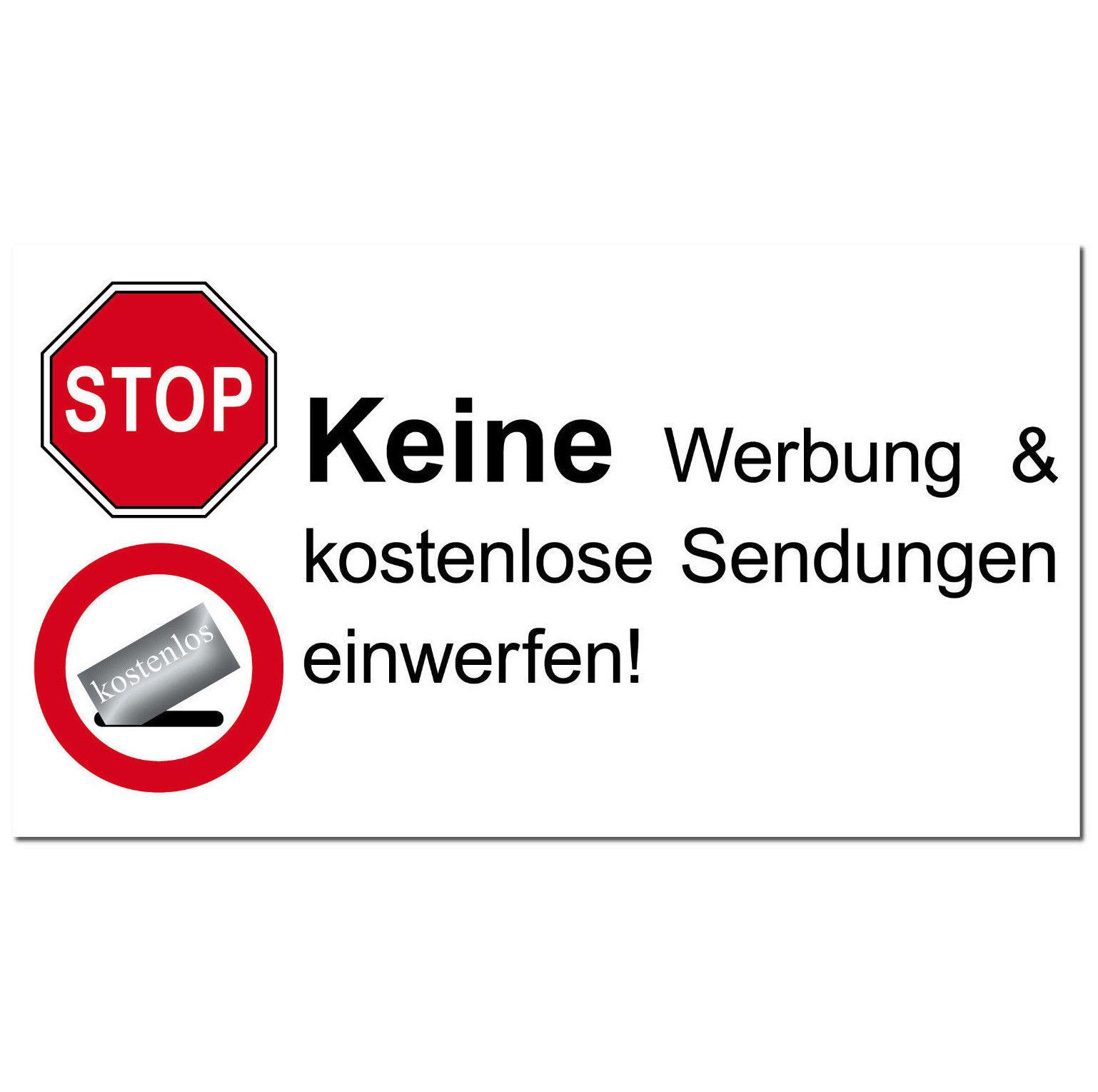 Briefkasten 9cm Aufkleber Sticker Stop Keine Werbung Kostenlose Reklame Zeitung