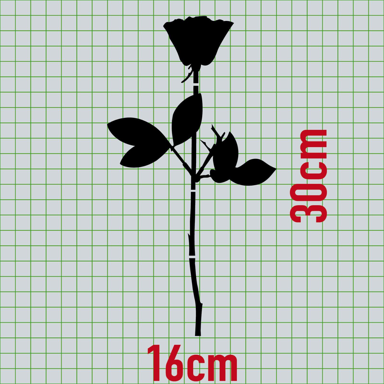 Rose 30cm schwarz Auto Tür Fenster Möbel Dekofolie Depeche Mode Aufkleber Tattoo
