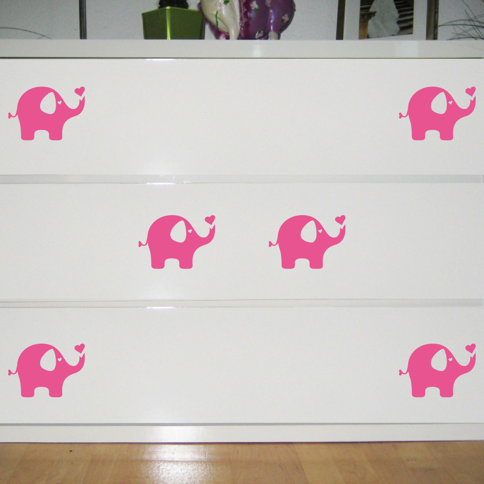 6 Aufkleber Elefant Rosa 10cm Tattoo Deko Folie Kinderzimmer Möbel Fenster  Regal