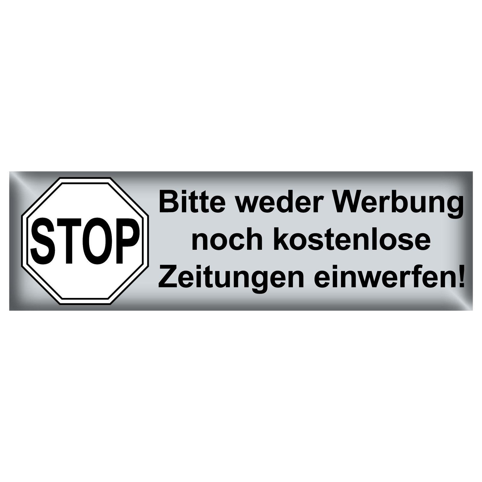 Aufkleber 6 5cm Schw Stop Keine Werbung Reklame Kostenlose Zeitungen Einwerfen