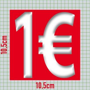 1€ Aufkleber 10cm Sticker 1 Euro Zeichen Symbol Rabatt Preis Aktion Hinweis Sale - Vorschau 2