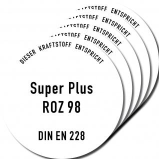 5 Aufkleber 10cm Super Plus oktan ROZ 98 BENZIN Tanken Deckel Sticker Hinweis