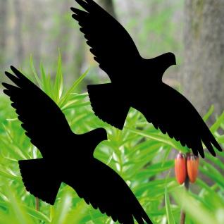 2 Aufkleber schwarz 20cm Vogel Deko Balkon Fenster Glas Scheiben Schutz Folie
