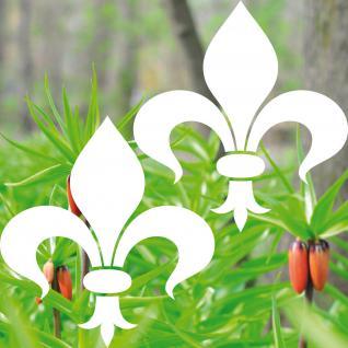 2 Aufkleber Tattoo Florenz Lilie 8cm weiß Fleur de Lis Deko Folie Klebefolie
