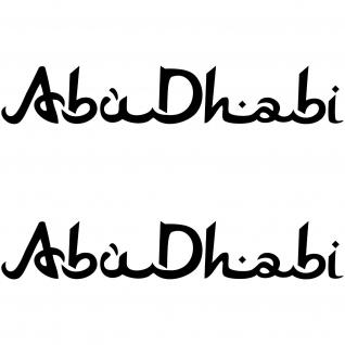 2 Aufkleber Abu Dhabi 30cm Schriftzug Tattoo die cut Auto Tuning Deko Folie