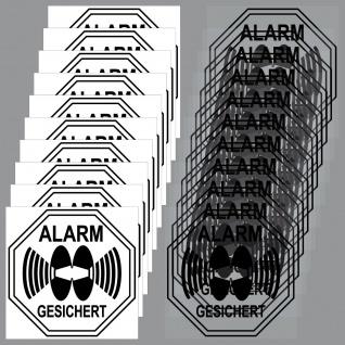10 + 10 Aufkleber Alarm Gesichert 5cm sw. Set für Fenster Innenseite Glasscheibe