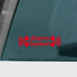 Alarm System rot Aufkleber Tattoo Auto Schaufenster Außenseite getönte Scheibe