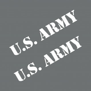 2 Aufkleber 20cm Schriftzug weiß US Army Auto Deko Folie Tattoo USA Klebefolie