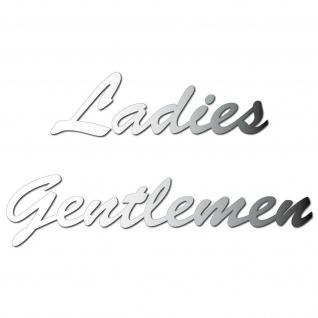Set Aufkleber chrom Folie Tattoo Wandtattoo Ladies Gentlemen Schriftzug Toilette