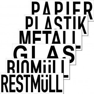 Aufkleber 20cm Müll Abfall DIN ISO Trennung Tonne Eimer Kontainer Beschriftung
