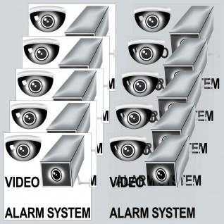 5 + 5 Aufkleber Video Alarm System 5cm schw Sticker f Innenseite Fenster Glas