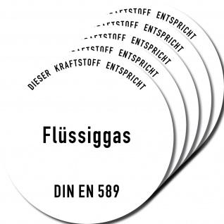 5 Aufkleber Sticker Gas Flüssiggas DIN EN 589 Kraftstoff Tankstelle Zapfsäule