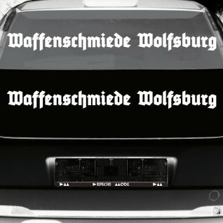 2 Stück Waffenschmiede Wolfsburg 90cm weiß Auto Heck Deko Aufkleber Tattoo Folie