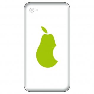 6 Aufkleber 5cm grün Birne statt Apfel Handy Tattoo Deko Folie Apple verarsche - Vorschau 1