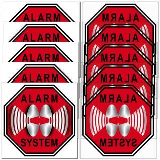 Set Alarm System Aufkleber 5cm rot Sticker 5 gespiegelt 5 normal für Innenseite