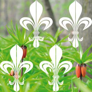 4 Aufkleber Tattoo 17cm weiß Bourbon Lilie fleur de lis Deko Folie Klebefolie