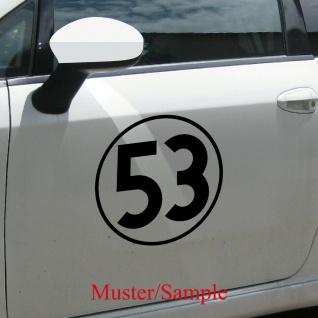 Aufkleber Tattoo 53 schwarz 30cm Auto Folie Racing Startnummer Nummer Herbie Nr