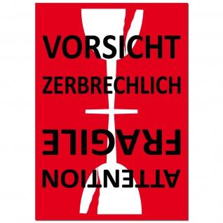 Aufkleber Sticker 7cm Achtung Vorsicht Glas Zerbrechlich Bruchgefahr Umzug Post