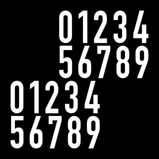20 Aufkleber 5cm weiß DIN 1451 Ziffern Zahlen Haus Nr Hausnummer Verkehrsschrift
