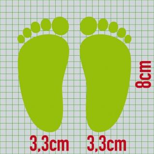 1 Paar 2 Füße 8cm grün Baby Fuß Abdruck Spur Aufkleber Tattoo Möbel Deko Folie - Vorschau 2