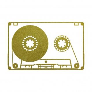 Musik Kassette 20cm gold Aufkleber Tattoo Deko Folie MC Music Cassette DJ Tape