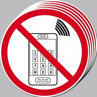Aufkleber 15cm Handyverbot Handy Smartphone Mobil nutzen telefonieren Verboten