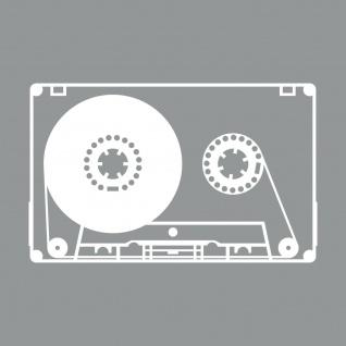 Musik Kassette 20cm weiß Aufkleber Tattoo Deko Folie MC Music Cassette DJ Tape