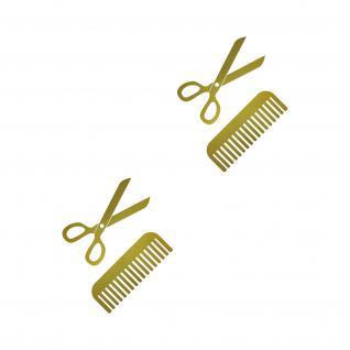 4 Aufkleber Tattoo 10cm gold Schere Kamm Auto Fenster Folie Friseur Haarstudio
