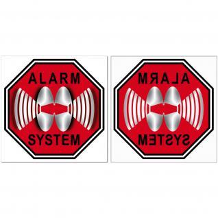 Set Für 100 Fenster Scheiben STOP ALARM SYSTEM 5cm Aufkleber Sticker Innenseite