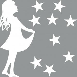 30cm Sterntaler + 5cm Sterne weiss Aufkleber DekoFolie Sternfänger 4061963041956
