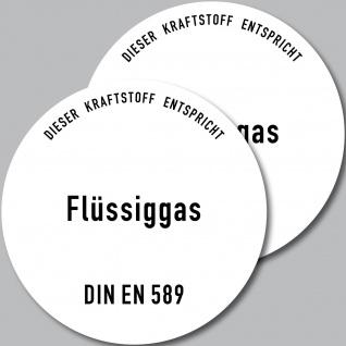 2 Aufkleber Sticker Gas Flüssiggas DIN EN 589 Kraftstoff Tankstelle Zapfsäule