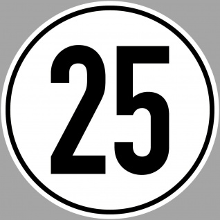 4 Aufkleber Sticker 25 kmh km/h 20cm Geschwindigkeit Auto Bus Pkw TÜV DIN1451