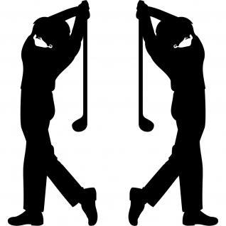 2 Aufkleber Tattoo 30cm schwarz Golfspieler Golfer Golfsport Auto Tür Deko Folie