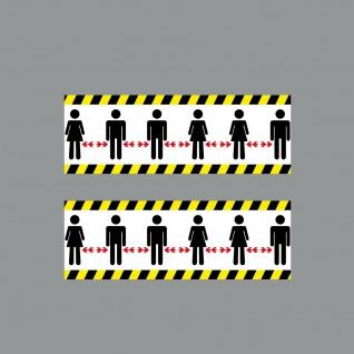 2 Aufkleber 20cm Sticker Bitte Personen Abstand zueinander halten 4061963052853