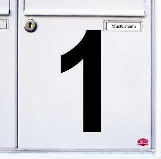 Ziffer 1 schwarz 15cm Aufkleber Tattoo Nummer Zahl Hausnummer Haus Tür Mülltonne - Vorschau 3